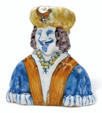 A LONDON DELFT POLYCHROME FLAS